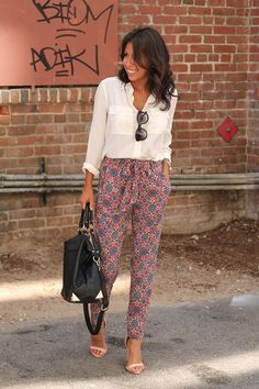 Printed pants with simple white shirt
