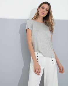 Imagen para Camiseta de Mujer Merila Gris Jaspede Punto Blanco White Jeans, Fashion, Gray, White People, Jasper, Style, Women, Moda, Fashion Styles