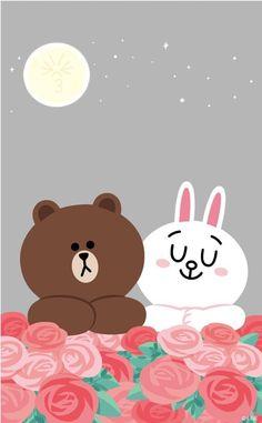 Lines Wallpaper, Wallpaper Iphone Cute, Cute Wallpapers, Wallpaper Backgrounds, Iphone Wallpapers, Cute Couple Drawings, Cute Couple Cartoon, Cute Couple Art, Line Cony