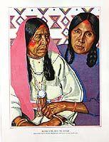 Original Antique Prints: Blackfeet Indians of Glacier National Park by Winold Reiss For Sale