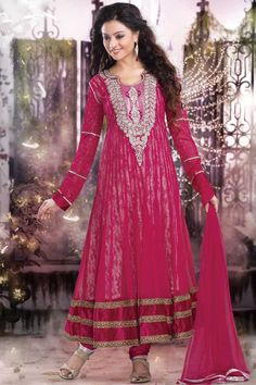 Deep Cerise Pink Net Embroidered Party and Festival Anarkali Kameez Sku Code:41-4319SL353173 US $ 119.00	 http://www.sareez.com/product_info.php?products_id=150013