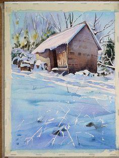aquarelle-watercolor-baraque-neige-45- Joël Simmons tutorial