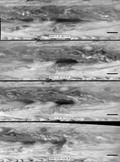In this series of images from NASAs Cassini spacecraft, a dark, rectangular hot spot (top) interacts with a line of vortices that approaches from on the upper-right side (second panel). The interaction distorts the shape of the hot spot (third panel), leaving it diminished (bottom).