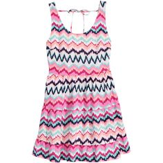 H&M Patterned Dress $12 (63 BRL) ❤ liked on Polyvore featuring dresses, braid dress, mixed print dress, striped sleeveless dress, pink print dress and no sleeve dress