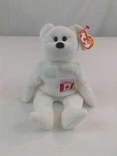c91adda0a2e 1996 Ty Beanie Baby Bear Maple Canada White Stuffed Plush Animal Toy  Ty  Beanie Baby