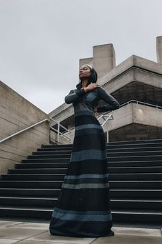 Hooded maxi dress. Sustainable and ecological production.  Image: Laura Viktualia - Model: De'love - Mua: Dana DG White