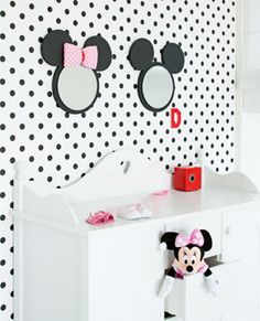 red and white minnie mouse room