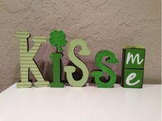 Kiss Me Wood Letters:St Patricks Day Decor