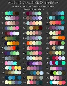 Made a little challenge for myself, collected some nice color palettes that I like and I decided to do a challenge, i need some practice with limited color palettes :) You can send ask to me, and. Palette Art, Colour Pallette, Colour Schemes, Color Combinations, Drawing Challenge, Art Challenge, Molduras Vintage, Color Palette Challenge, Colour Board