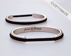 Free Shipping on order of 3 or more items. Please input the code ASLFREESHIPPING when you check out.  - Personalize hair tie bracelet with a meaningful name, initials, date, roman numerals, favorite quotes, Proverbs, coordinates or anything else that is close to your heart. It is the perfect, meaningful gift for that special someone. - Please let us know details to engrave at checkout. - Font and symbol choices can be seen in the last photo.  - Our bracelets are bendable which allows you a…