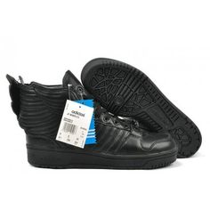 new style 08c68 4fdcb Womens Jeremy Scott JS Wings leahter all black Adidas Shoes 2012