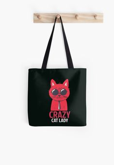 Crazy cat lady Tote Bag Crazy Cat Lady, Crazy Cats, Cotton Tote Bags, Reusable Tote Bags, Poplin Fabric, Hoodies, Sweatshirts, Womens Tote Bags, Shopping Bag