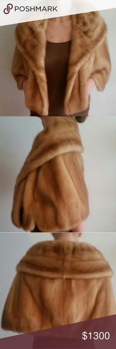 Rare 1950's Vintage mink cape Profesionally stored. Perfect condition. Real mutated mink lined with satin.  Dress it up or wear with jeans and boots! Jackets & Coats Capes