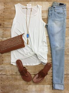 Knotted Tank Top: Ivory from privityboutique