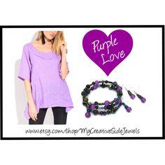 Purple wrap bracelet.  Essential oil diffuser bracelet. Purple and black.  handmade jewelry on Etsy: https://www.etsy.com/shop/MyCreativeSideJewels