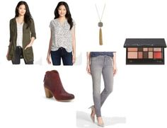 olive anorak, printed top, drusy necklace, gray jeans, burgundy ankle boots