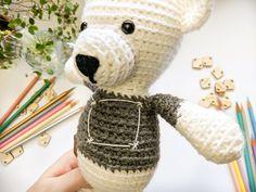 Gray sweater big dipper embroidery teddy bear amigurumi doll #amigurumi #toy #toys #crochet #crocheting #doll #embroidery #amigurumidoll #amigurumiaddict #nurseryideas #nursery #stars #constellations #graytheme