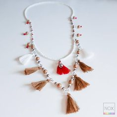 Double Strand Necklace - Boho Tribal Hippie Chic - Seed Beads - White Brown and Red - Handmade