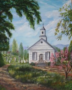 Oil painting of the  Old Country Church