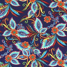Peach Paisley Flower 4 - navy blue - Flora & fauna - Blouse and Dress Fabrics - myfabrics.co.uk