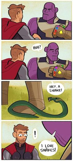 A four panel comic. Thor and Thanos are about to fight when Thanos looks down and sees a snake on his boot. He says 'Hey, a snake! I love snakes!' Thor definitely recognizes that snake. And then Loki stabs Thanos Marvel Dc Comics, Marvel Avengers, Hero Marvel, Heros Comics, Funny Marvel Memes, Marvel Jokes, Dc Memes, Loki Funny, Loki Sad