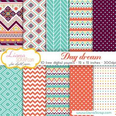 Free digital paper pack – Day Dream Set - http://www.lianascrap.com/free-digital-paper-pack-day-dream-set/