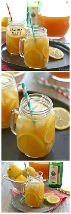 Gameday Sangria, the perfect cocktail for the Superbowl or March Madness! Easy Sangria for a crowd. Yum!   The Cookie Rookie