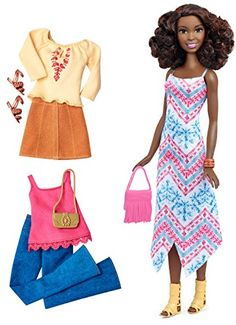 Barbie Fashionistas doll wears a stylish long dress with a white, pink and blue print Includes two additional complete outfits, a pink tank with fringe detail and trendy wide-leg denim pants, and a light yellow, long-sleeved top with pink tribal print and tan skirt Two pairs of shoes complement all the looks -- one pair of cream fringe sandals and one pair of bronze strappy sandals. toys4mykids.com
