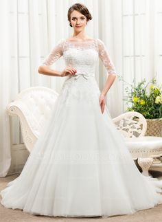 A-Line/Princess Off-the-Shoulder Chapel Train Satin Tulle Lace Wedding Dress With Beading Sequins Bow(s) (002056466) - JJsHouse