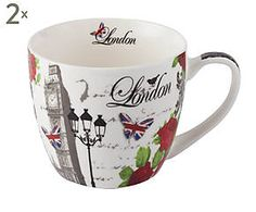2 Tasses à café abigaïl, porcelaine - Ø10