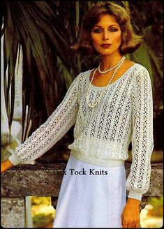 1970s crochet sweater pattern vintage PDF to make a womans Buttoned Cuff Lace Sweater, worked in a lace stripe pattern. Waistline is softly bloused