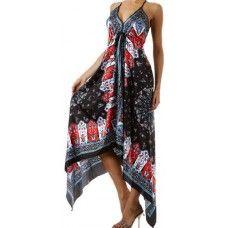 Silk Feel Handkerchief Hem Criss Cross Back Adjustable Dress $29.99
