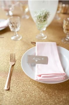 gold glitter tablecloth pink wedding