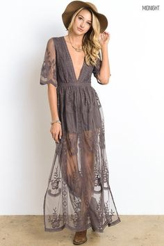 The plunging neckline on this maxi-romper can easily be covered with a cami worn under the lace. Bare to embrace the hottest trend in rompers, with a little extra lace to cover up your legs! Fits true