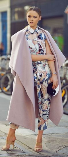 Lilac Long Line Cape Coat, HATING THE COAT that looks like a blanket... LOVE THE OUTFIT INSTEAD!!!