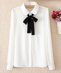 Wholesale Turn Down Collar Long Sleeve Solid Color Pleated Slimming Chiffon Blouse For Women (WHITE,M), Blouses - Rosewholesale.com