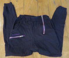 Nappy Tabs Black Cotton Baggy Crotch Hip Hop Pants with Purple Trim & Zippered Accents, Sz XXS
