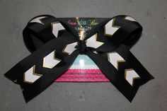 Chevron Black and Gold BIG Cheer Bow  by SouthernMissBowtique