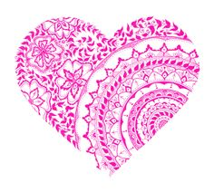 Printable Heart Mandala Illustration - Instant Download - Wall Art - Home Decor - Art - Bohemian - Zentangle - Valentine - Heart - Love - A4 by SulaDesignCo on Etsy
