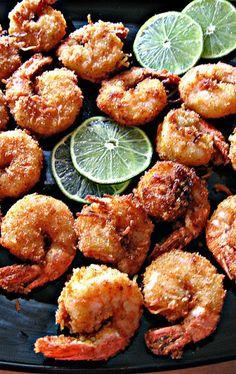 coconut and lime battered shrimp...