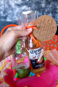 """Let party-goers take the fiesta """"to go"""" with these adorable Margarita Party Favors! A few margarita-making essentials all bundled up in a festive bag. Mexican Party Favors, Fiesta Party Favors, Mexican Fiesta Birthday Party, Mexican Party Decorations, Margarita Party, Margarita Glasses, Party Favors For Adults, Alcohol Gifts, Taco Party"""