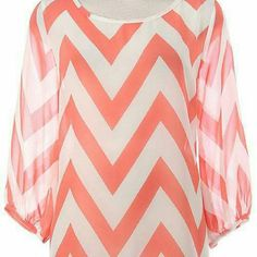 Chevron hi-lo sheer blouse Jewel length sleeve, sheer Chevron print blouse Tops Blouses