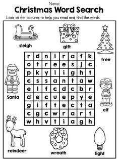 *** FREE *** Christmas Word Search >> Packet also includes label Santa, label an elf, label the reindeer and My Book of Christmas Words.