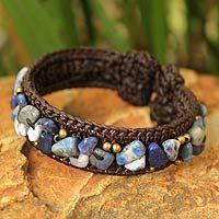 Lapis lazuli cuff bracelet, 'Ocean Day' by NOVICA  I really like the ocean blue stones on this bracelet.