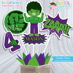 The Flash centerpieces, Superhero centerpiece boy superheroes Birthday Party boys super hero digital decor supplies cute center PERSONALIZED Hulk Birthday Parties, Leo Birthday, Birthday Party Decorations, Birthday Ideas, Superhero Centerpiece, Centerpiece Decorations, Hulk Party, Superhero Party, The Flash