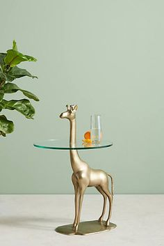 animal coffee end tables Giraffe Bedroom, Giraffe Decor, Anthropologie Furniture, Unique Living Room Furniture, Glass Top Side Table, Coffee And End Tables, Side Tables, Tuscan Decorating, Bronze