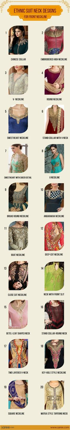 20 Must-have Indian Suit Neck Designs – for every Salwar Suit lover [Infographic] #Neckdesign #NeckPattern #Salwarsuits #NeckDesignforSalwarSuit #NeckDesignforChuridar #Salwarkameezneckdesigns #FashionTips #Sareedotcom