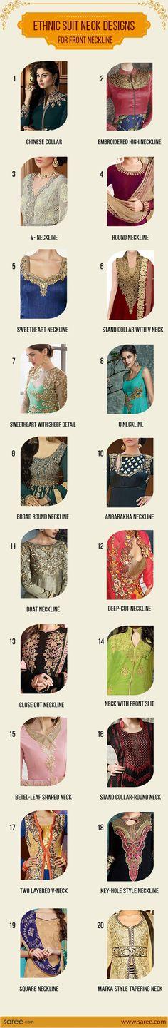 20 Must-have Indian Suit Neck Designs – for every Salwar Suit lover [Infographic] #Neckdesign #NeckPattern #Salwarsuits #NeckDesignforSalwarSuit #NeckDesignforChuridar #Salwarkameezneckdesigns #FashionTips #Sareedotcom