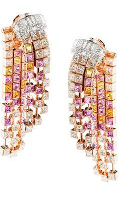Boucheron Mosaique Delilah diamond and colored sapphire earrings.