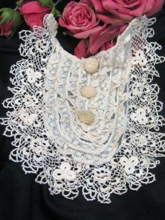 ANTIQUE 1800S DRESS BODICE BEST HANDMADE BOBBIN NEEDLE LACE COLLAR DOLL BUTTONS | eBay